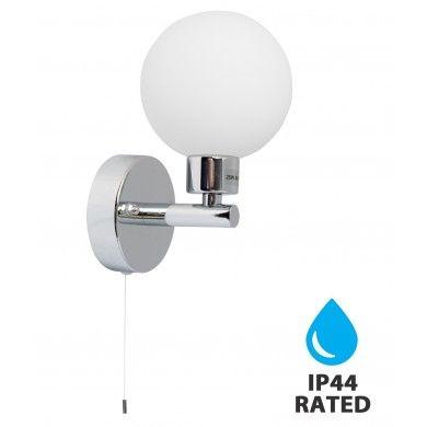 Polished Chrome Ip44 Bathroom Wall Light With Pull Cord Switch Bathroom Wall Lights Wall Lights Polished Chrome