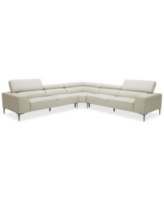 Mossley 129 3-Piece Leather L Sectional Sofa | My Wish HOME ...