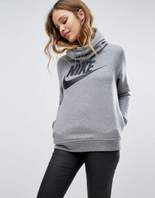 Nike Rally Pullover Hoodie In Grey With Large Futura Logo