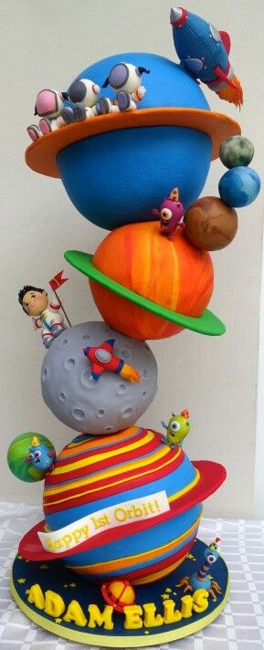 Rotating solar system cake, it's not that glamorous but it is awesome