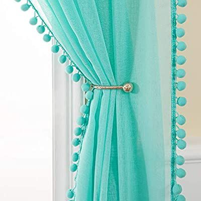 Amazon Com Miulee Linen Textured Window Sheer Curtains With Pom