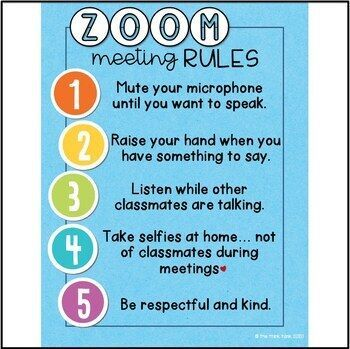 Zoom Video Meeting Rules Signs Distance Learning Digital Learning Distance Learning Digital Learning Teaching Technology