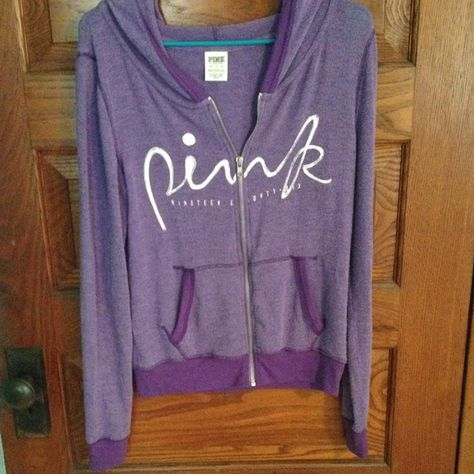 Victoria's Secret purple zip up hoodie Victoria's Secret full zip up hoodie, super soft and lightweight-perfect for spring! size x-small PINK Victoria's Secret Tops Sweatshirts & Hoodies