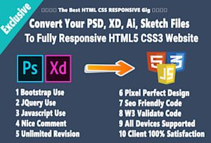 Convert Psd To Html Xd To Html Ai To Html With Bootstrap Fully