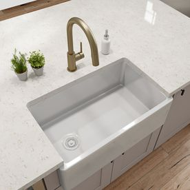 Barclay 29 75 In X 17 5 In White Single Basin Standard Drop In Apron Front Farmhouse Residential Kitchen Sink At Lowes Com Sink Fireclay Sink Single Basin