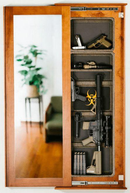 Rangement caché Miroir In-Wall Gun Safe Secret Armoire fusil pistolet AR 223 Cherry