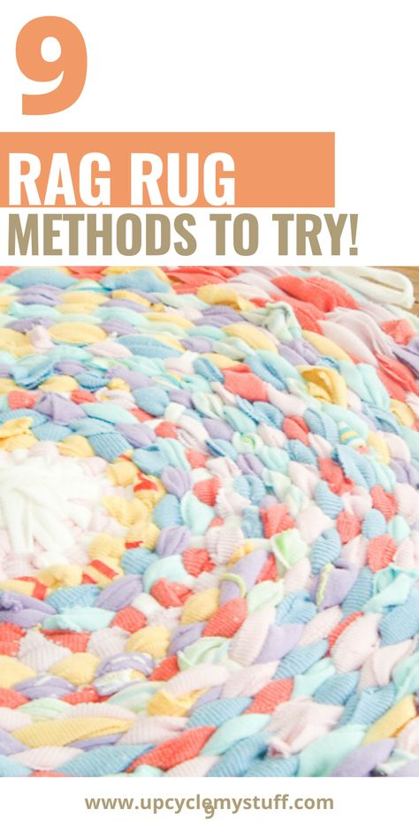 9 different methods for making a rag rug from your scrap fabric. Includes braided t-shirt rugs, crocheted rag rugs, no sew rag rugs & rugs from fabric twine and old towels. From beginners to advanced. Find the perfect method for you! rugs diy old towels Fabric Yarn, Fabric Remnants, Scrap Fabric, Fabric Scraps, Rag Rug Diy, Diy Crochet Rag Rug, Dyi Rugs, Rag Rug Tutorial, Braided Rug Tutorial