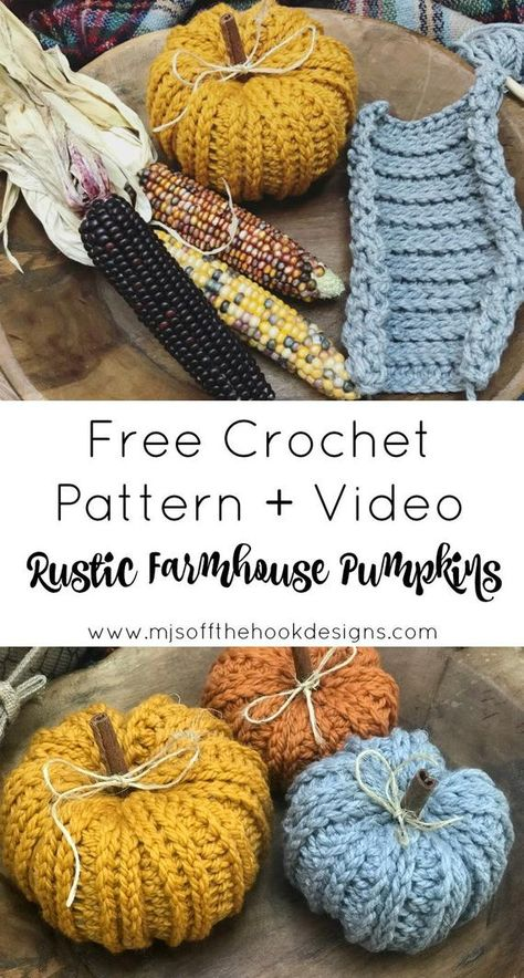 knitting and crochet Projects colour - Bulky & Quick Rustic Farmhouse Pumpkin Pattern Crochet Pumpkin Pattern, Crochet Pattern Free, Easy Crochet Patterns, Crochet Designs, Fall Knitting Patterns, Holiday Crochet Patterns, Easy Patterns, Free Pumpkin Patterns, Crochet Motif