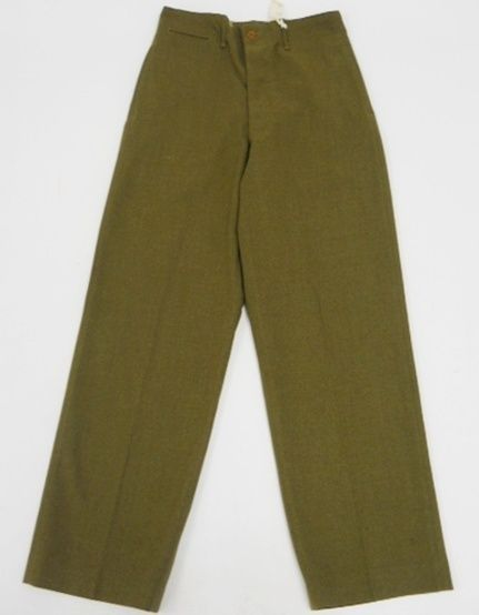 Vintage 40s WW2 Era US Army MILITARY Serge LIGHT SHADE Trousers WOOL Pants 29 X1