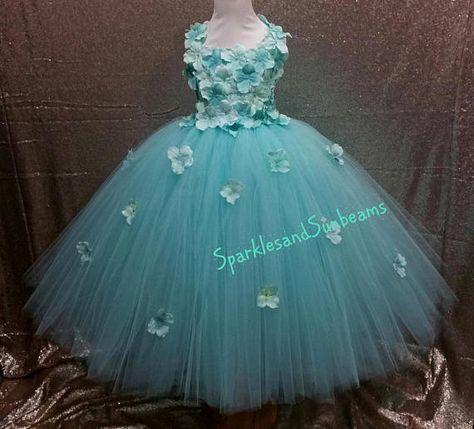 80bb6401d71 Aqua hydrangea flower tutu dress  Flower girl dress Party dress(Aqua ...