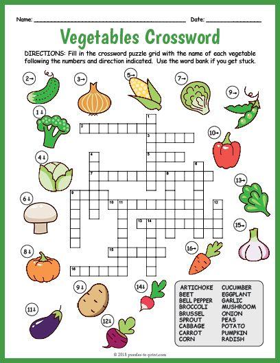 Free Printable Vegetables Crossword English Worksheets For Kids Crossword Learning English For Kids