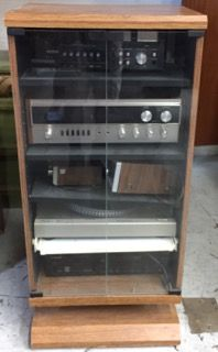 STEREO COMPONENT CABINET WITH ADJUSTABLE SHELVES AND GLASS DOORS.  ELECTRONICS ARE NOT INCLUDED. 41H