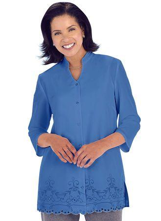 AmeriMark Scalloped Hem Embroidered Jacket Dress