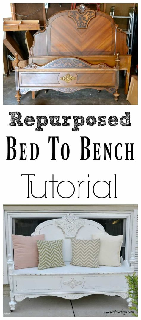 Do you have a headboard and foot board lying around? Don't get rid of it! Check out this repurposed bed to bench tutorial and make it into something useful again. headboard bench Repurposed Bed To Bench Tutorial Redo Furniture, Headboard Benches, Repurposed Furniture Diy, Repurposed Headboard, Old Bed Frames, How To Make Bed, Diy Furniture Projects, Wooden Bed Frames, Bed Frame Bench