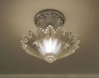 Vintage Sunburst Ceiling Light 1930s Art Deco Petite Clear Pressed