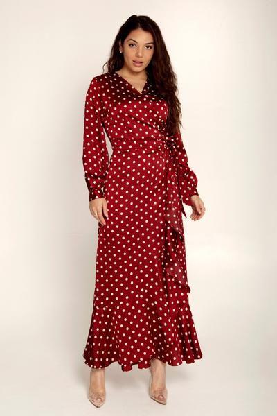 32+ Burgundy polka dot wrap dress ideas