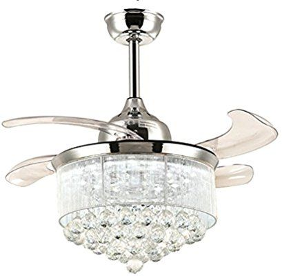 Noxarte 36 Inch Promoting Natural Ventilation Invisible Fan Modern Crystal Dimmable Warm Daylight Chandelier Fan Ceiling Fan Chandelier Ceiling Fan With Light