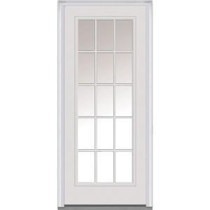 Mmi Door 36 In X 80 In Left Hand Inswing 15 Lite Clear Classic External Grilles Primed Fiberglass Smooth Prehung Front Door Z000576l Steel Doors Exterior Mmi Door Fiberglass Exterior Doors