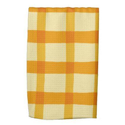 Yellow And Orange Plaid Kitchen Towel Zazzle Com Yellow Towels