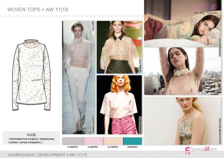 Woven tops flat drawings, vector technical sketches for Fall winter Trend forecasting by