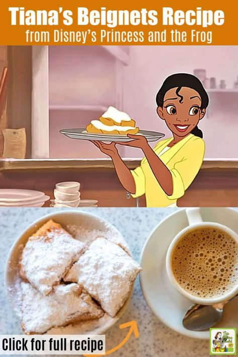 Looking for a beignet recipe for your Mardi Gras party? Try Tiana's Famous Beignets Recipe from Disney's Princess and the Frog movie and children's cookbook. This French donut will be a hit for breakfast and brunch with adults and kids alike. Mardi Gras Party, Mardi Gras Food, Christmas Breakfast, Breakfast For Kids, Breakfast Recipes, Dessert Recipes, Pastry Recipes, Disney Desserts, Disney Food Recipes
