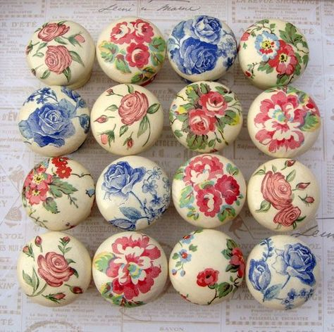 Drawer/Door Knobs. Can these be decoupaged onto knobs and varnished ...