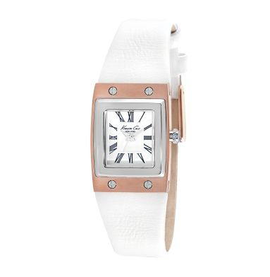 Rose Gold and Stainless Steel Square Watch with White Leather Strap Kenneth Cole