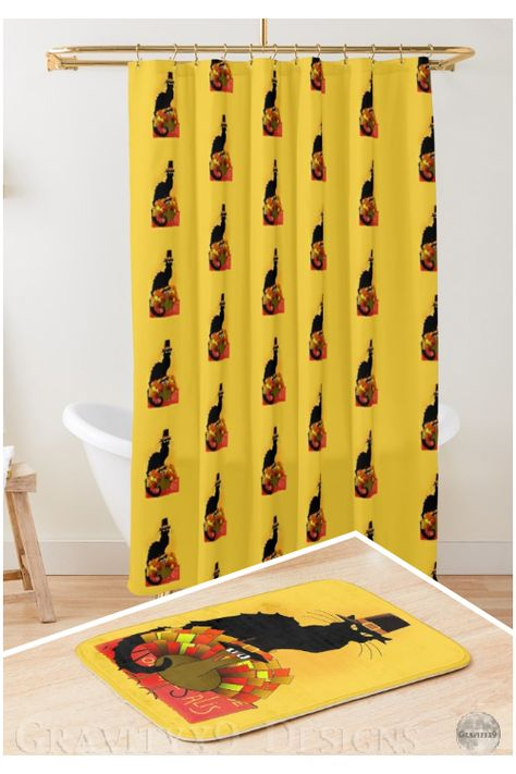 Thanksgiving Le Chat Noir With Turkey Pilgrim Bath Mat By Gravityx9 Grey Wall Decor Bathroom Decor Trending Decor