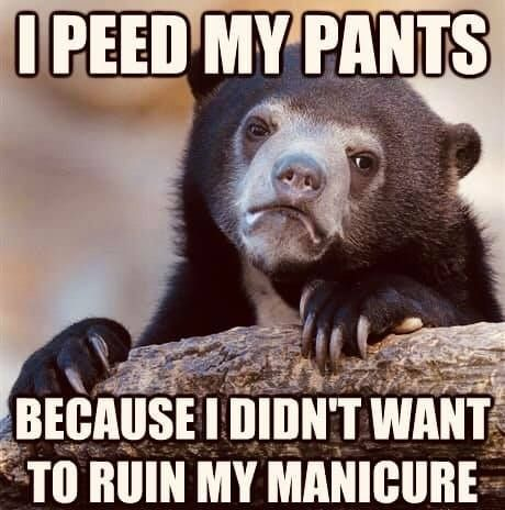 So Glad I Can Pee Mid Mani With Color Street Lol Confession Bear Funny Pictures Funny Memes