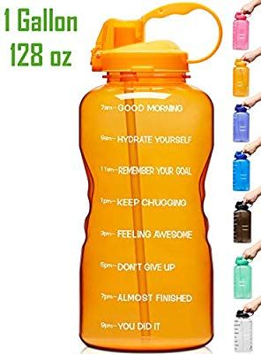 When Full Motivational BPA Free Leakproof Water Bottle with Straw /& Time Marker Perfect for Fitness Gym Camping Outdoor Sports Venture Pal Large 1 Gallon//128 OZ
