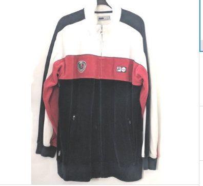 Vintage FILA Men's Jacket XL Italia Logo Velour Velvet Track