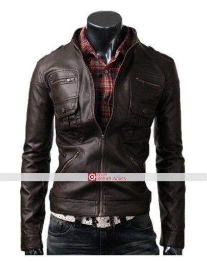 3fc9b0ae4 Slim Fit Dark Brown Zip Pocket Jacket in 2019 | Slim Fit Leather ...