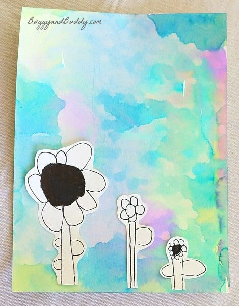 Spring Art Projects: Flowers on Watercolor Background   kindy art