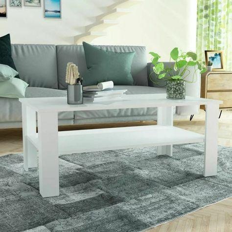 Table Basse Vidaxl En Carton Gris 100x59x42 Cm Table Basse Blanche