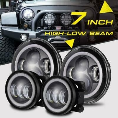 Details About 7 Inch 280w Led Headlights 4 Fog Lamp Halo Ring Drl For Jeep Wrangler Jk 07 17 In 2020 Jeep Wrangler Jk Wrangler Jk Jeep Wrangler