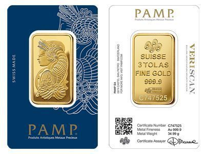 Pamp Suisse Gold Bullion Three Tola Bar Goldbullion Gold Bullion Coins Mint Gold Gold Bullion Bars