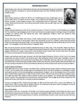 Thi Reading Comprehension Worksheet I Suitable For Beginner To Proficient Esl L Who Albert Einstein Worksheets Essay On