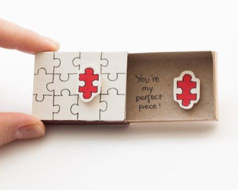"Funny Love card/ Cute Puzzle Love Card/ Unique Love Matchbox Card/ Nerdy Love Card ""You are my perfect piece"" Puzzle/LV004"