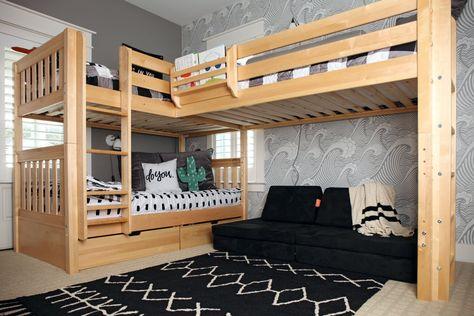 Combine Two or More Beds: Corner Lofts, Triple & Quad Bunks – Maxtrix Kids Corner Bunk Beds, Bunk Beds Boys, Bunk Bed Plans, Kid Beds, Triple Bunk Beds Plans, Double Loft Beds, Boys Bedroom Ideas With Bunk Beds, Single Loft Bed, Bunk Bed Wall
