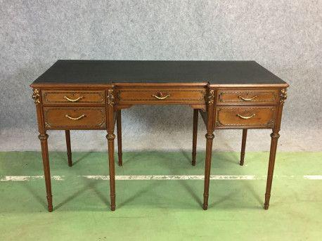 Bureau Bois Et Cuir Ancien Bureau Desk Vintagefurniture Vintage Bois Wood Leather Bureau Bois Bureau Bois Massif Bureau Ancien