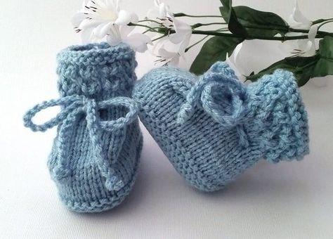 b109ee9af426 Blue Baby Booties