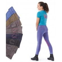 Children/'s Ribbed Pull-Up Riding Tights