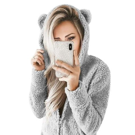 2018 Winter Fur Jumpsuit Women Hooded Long Sleeve Zip Playsuit Fashion – geekbuyig