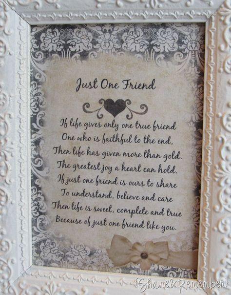 just one friend poem framed home decor friendship friend poems rh pinterest ca