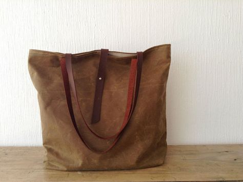 Waxed canvas Tote Bag in Cinnamon Brown   Brush by MeryBradley, $109.00