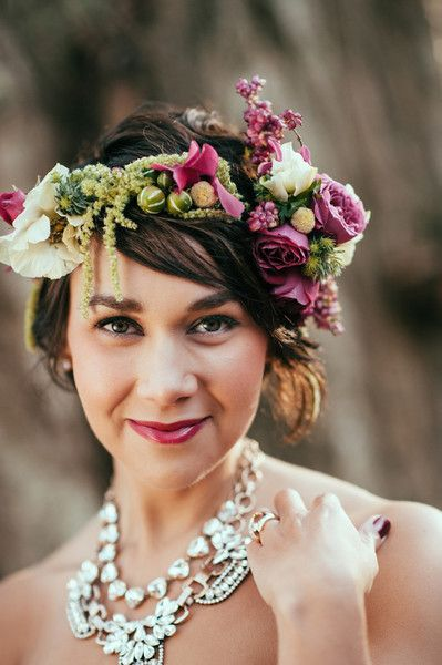 Fuchsia Florals - Short and Sweet Bridal Hairstyles - Photos