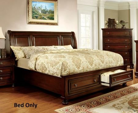 Northville Collection Cm7683q Bed Queen Size Bed With 2 Drawers Curved Headboard Bun Feet Solid King Bedroom Sets Bed Frame Sets Wood Platform Bed