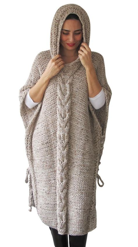 Plus Size Maxi Knitting Poncho with Hoodie Over Size Tweed | Etsy