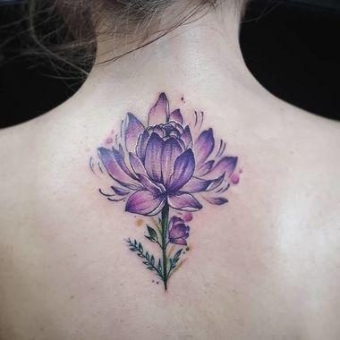 50 Fantastic First Tattoo Ideas Purple Flower Tattoos Purple Tattoos Purple Lotus Tattoo