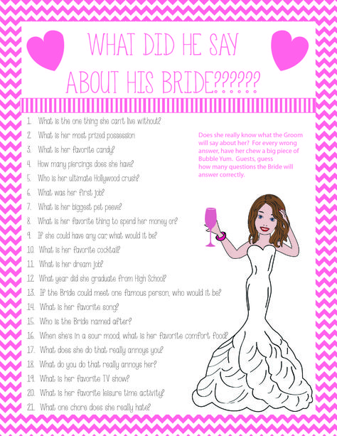 What did the Groom say about the Bride? Fun Bridal/Wedding Shower game #Bridal #Shower